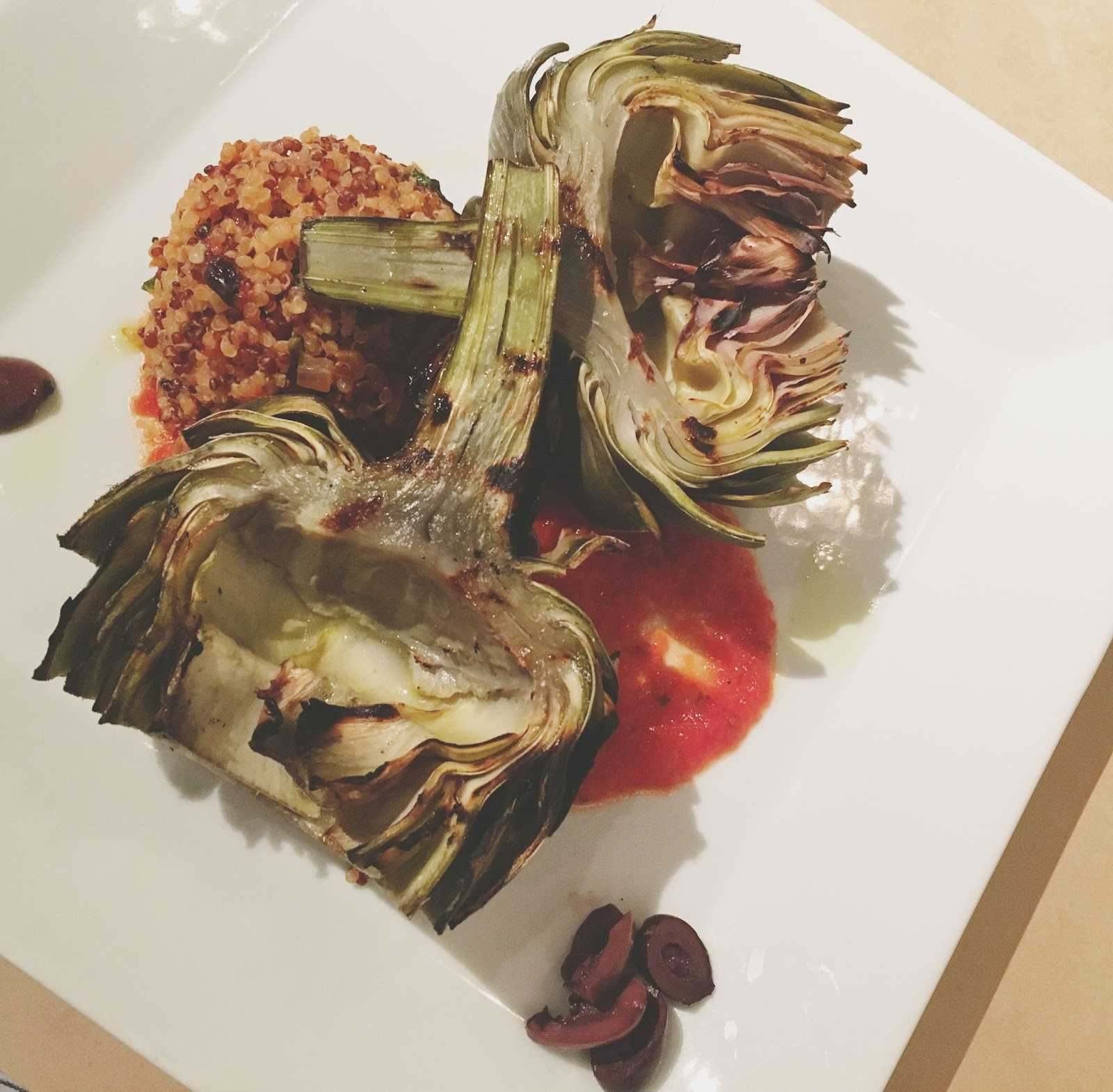 grilled artichoke entree at Celadon - a restaurant in Napa, California