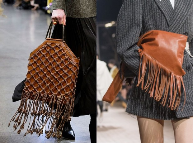 Fall-Winter 2018-2019 Women's Brown Leather Bag With Fringes Fashion Trends