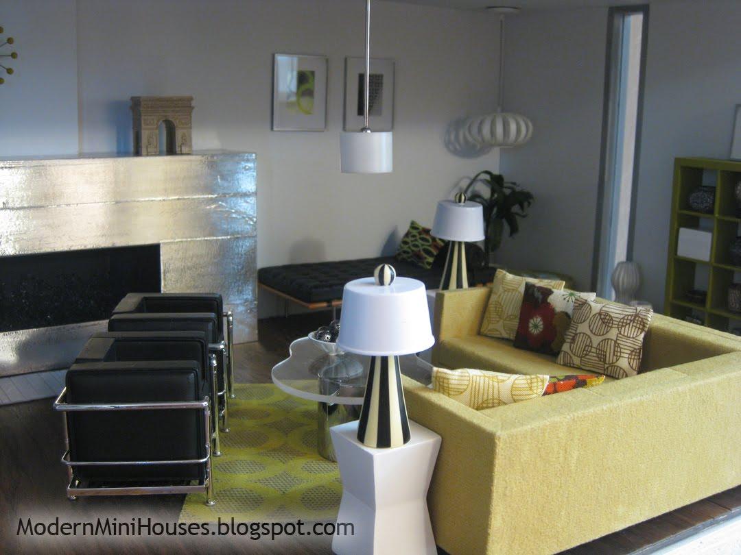 Dollhouse Miniature Sectional Sofa Softline Bed Modern Mini Houses