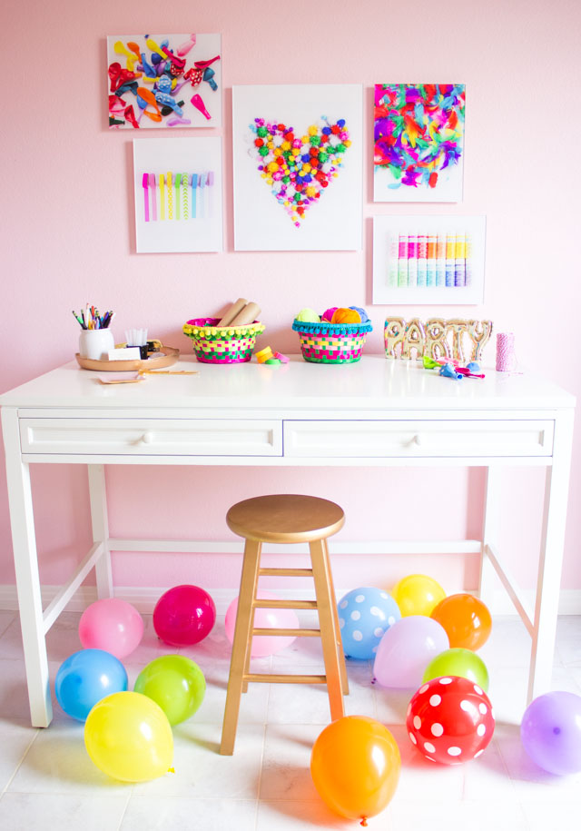Colorful craft room ideas - make your own craft supply wall art!