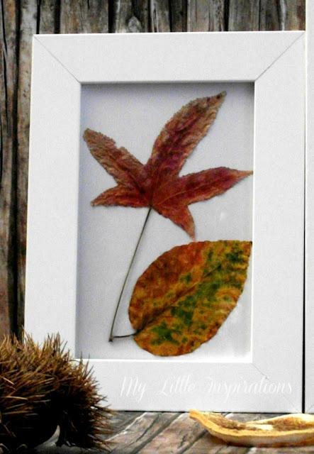 Quadretti con foglie secche d'autunno - due foglie - My Little Inspirations