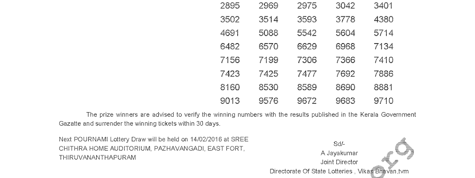 POURNAMI Lottery RN 223 Result 07-02-2016