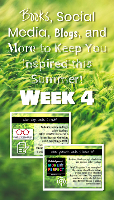 Books, Social Media, Blogs, and More to Keep You Inspired this Summer #newteachers #backtoschool #socialstudies #professionaldevelopment