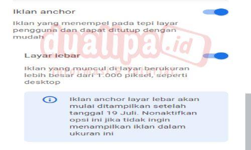 Iklan Anchor Adsense Akan Mulai Tampil di Desktop Layar Lebar 19 Juli 2021
