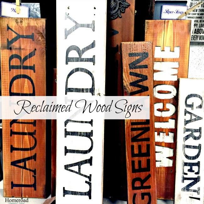 Reclaimed wood signs using old decking www.homeroad.net