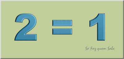 Quadro mostrando que 2 = 1 referente à postagem de demonstração do absurdo matemático induzido por um erro algébrico inadmissível.