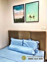 Căn hộ full nội thất tòa Orchid 2 HaDo Centrosa cho thuê - tranh treo tường trong phòng ngủ