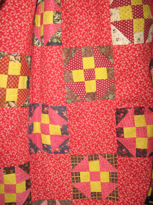 red and chrome yellow antique churndash quilt