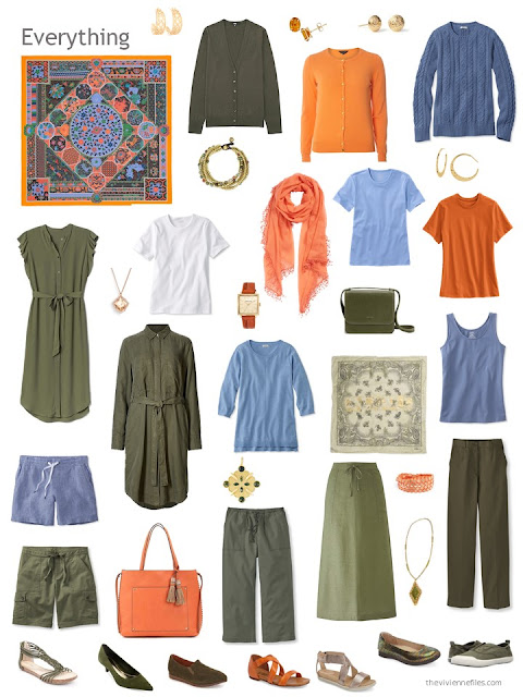 a capsule wardrobe in olive, blue, orange and white