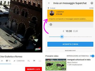 Donazione in Superchat YouTube - digita il messaggio