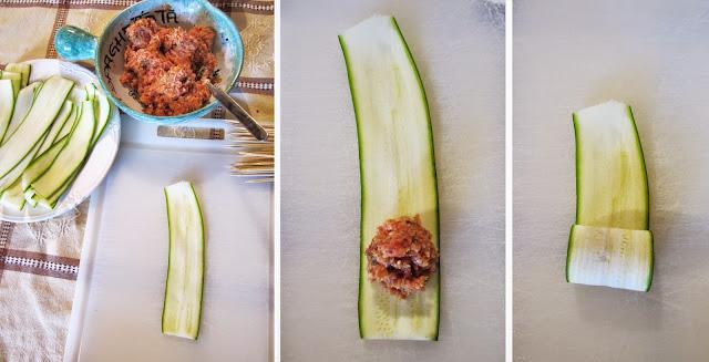 spiedini di zucchine ripiene di carne