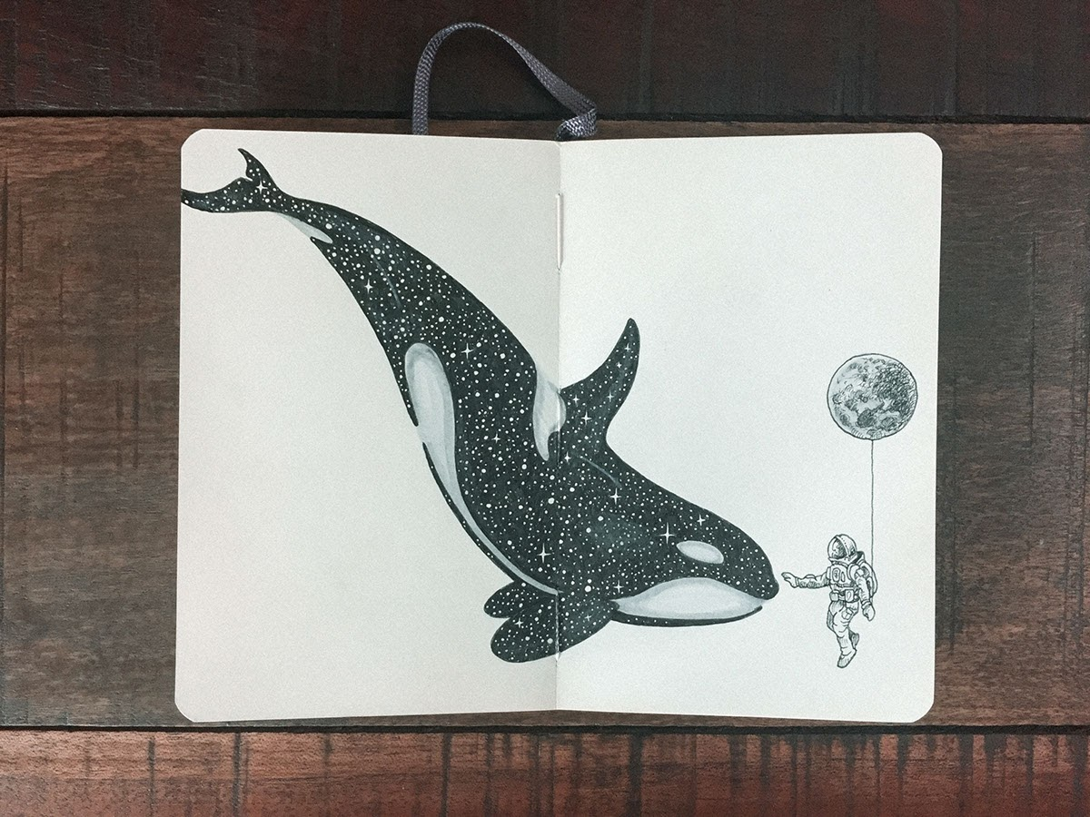 12-The-Whale-and-the-Astronaut-Kerby-Rosanes-Detailed-Moleskine-Doodles-with-many-Whales-www-designstack-co