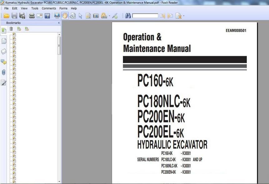 Free Automotive Manuals  Komatsu Hydraulic Excavator Pc160