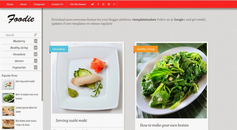 Foodie Free Blogger Template