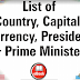 List of Countries and Their Capitals, Currencies, Presidents and Prime Ministers PDF Download