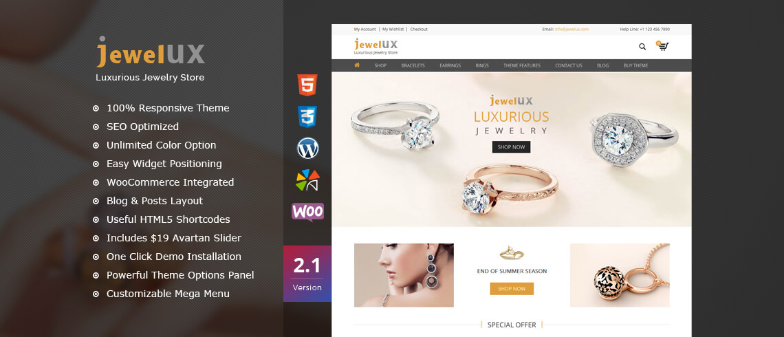 JewelUX - Premium Jewelry WordPress Theme WordPress Themes Free