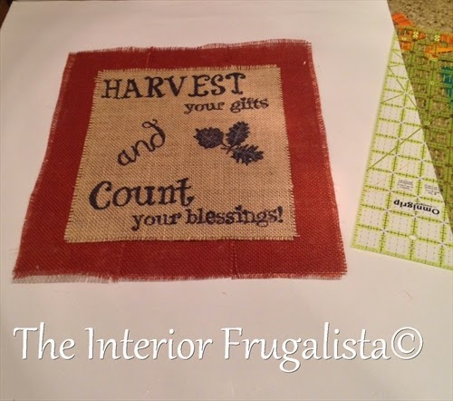 Colored burlap border around Fall Harvest Art