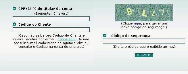 Página de login da agência virtual da Light Rio de Janeiro