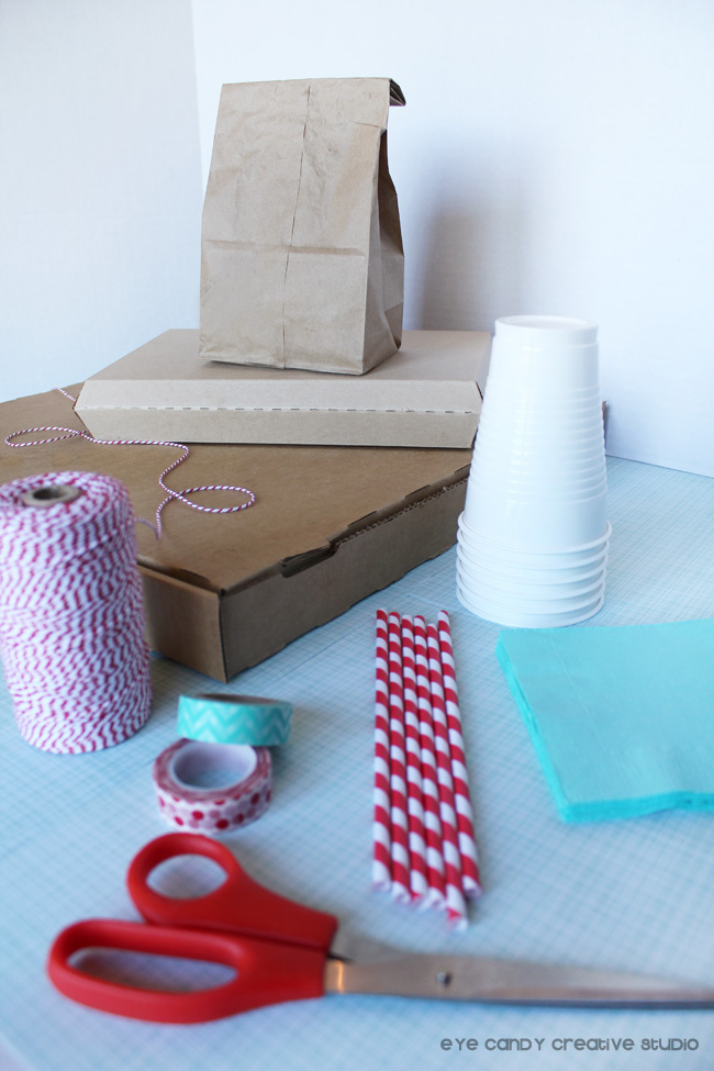 supplies to make pizza box bunting, Sam's Club, washi tape, straws