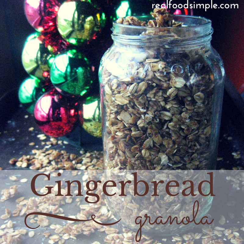 Simple gingerbread granola. A healthy, easy recipe that takes about 20 minutes and has the great flavor of gingerbread. | realfoodsimple.com