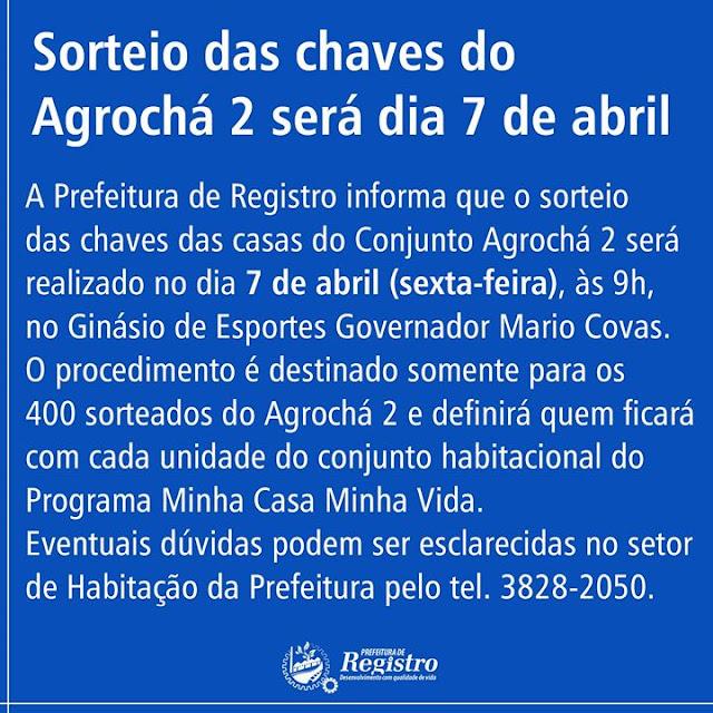 Sorteio das chaves do Agrochá 2 em Registro-SP será no 07/04