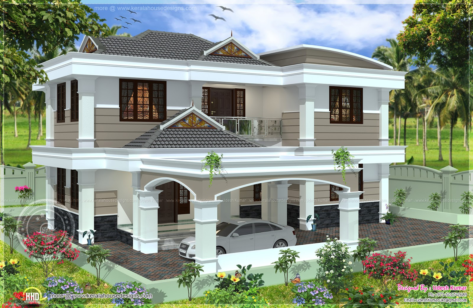 Double Storey Bungalow Elevation : Square yards double storied house design kerala home