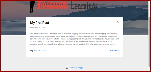 How to Create a first Blog Post in Blogger