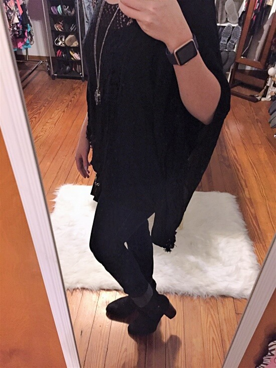 black poncho shirt outfit of the day