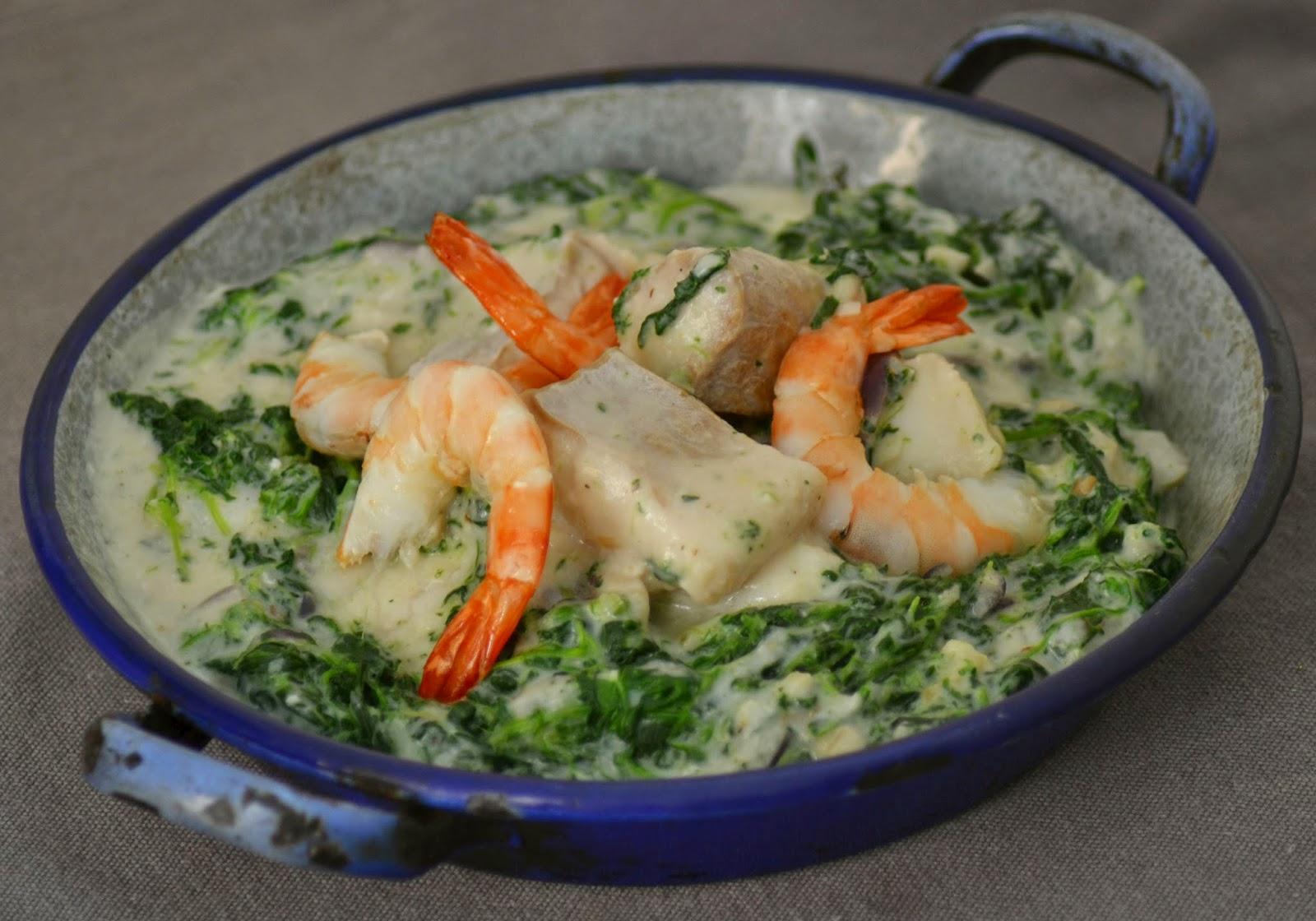 Vispannetje met witvis, garnalen en spinazie