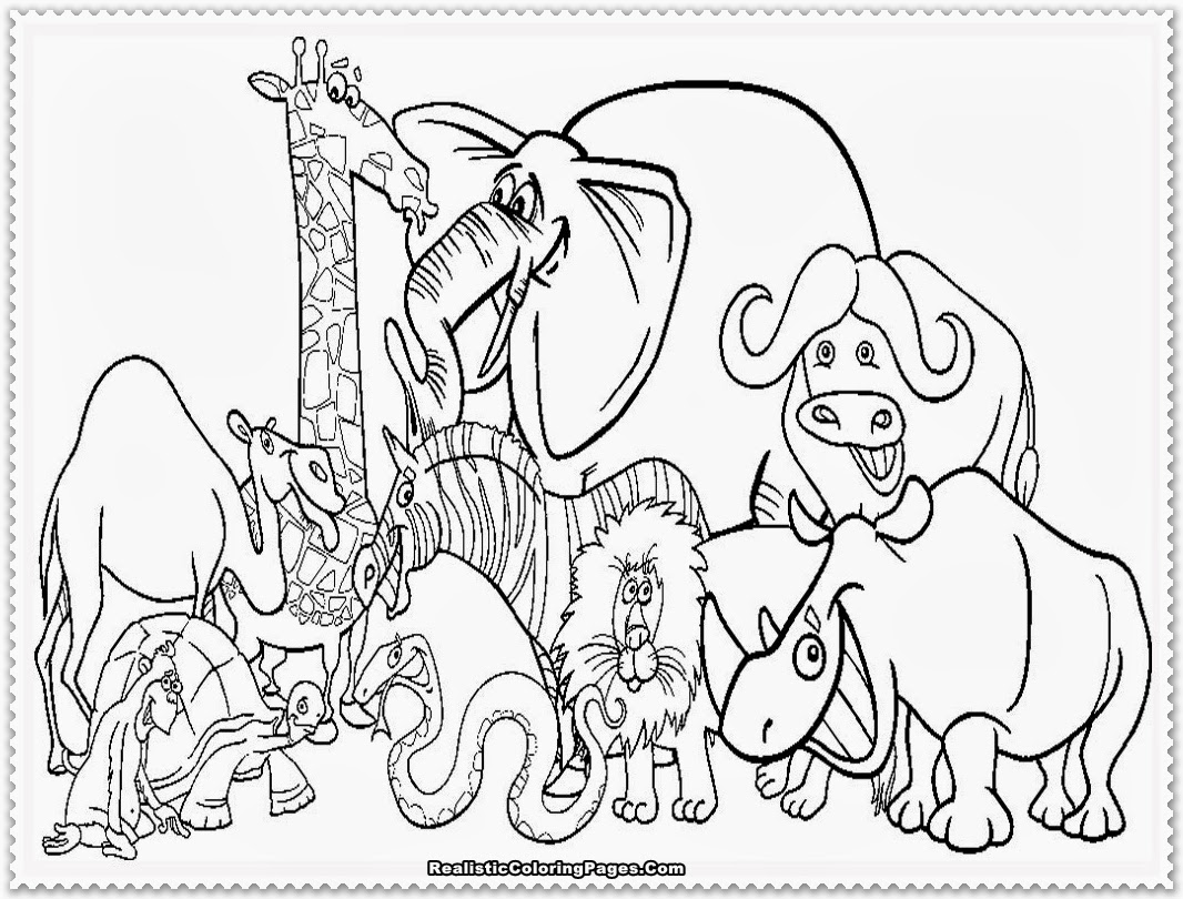 Zoo animal coloring pages realistic coloring pages for Animals coloring page