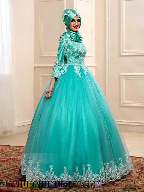 Contoh gaun pengantin muslimah Bahan Sifon Terbaru