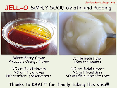 Shows flavors of JELLO Simply Good gelatin and pudding to go along with review.