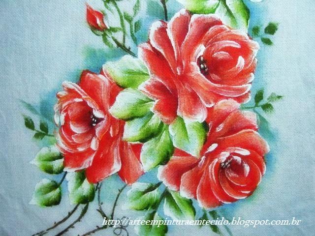 Pintura em tecido rosas ramo