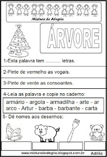 Atividades com a palavra árvore natal - desenho