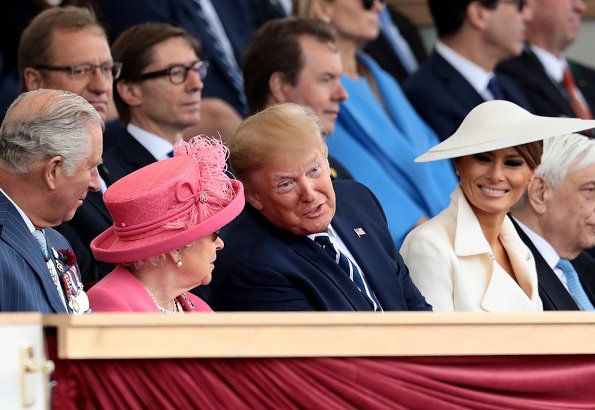 President Donald Trump and First Lady Melania Trump, Theresa May, Justin Trudeau, Xavier Bettel. Meghan Markle