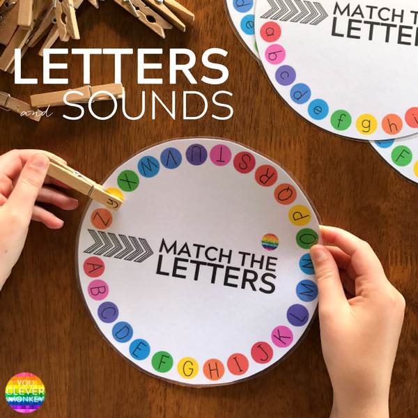 Letter and Initial Sound Printable Wheels - just print and add clothe pegs! Perfect for building up fine motor skills while learning upper and lowercase letters and beginning letter sounds | you clever monkey