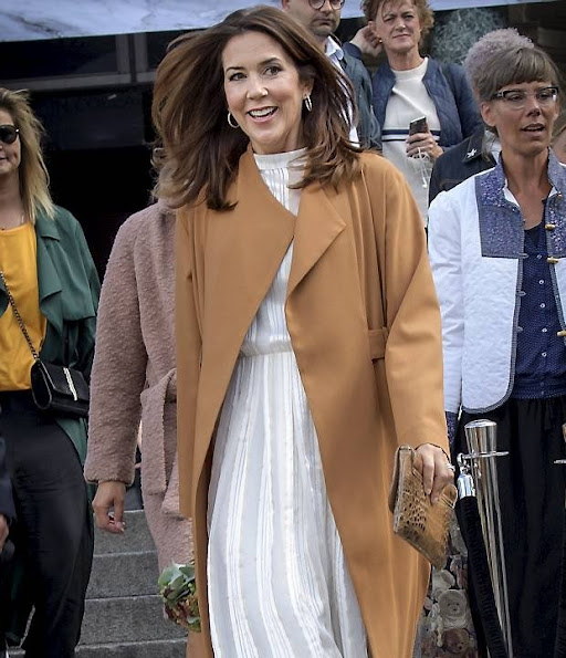 Crown Princess Mary wore Julie Fagerholt Heartmade Hemsley Dress, Sergio Rossi Snakeskin Suede Pumps, Carlend Copenhagen Vanessa Original Croco Clutch bag