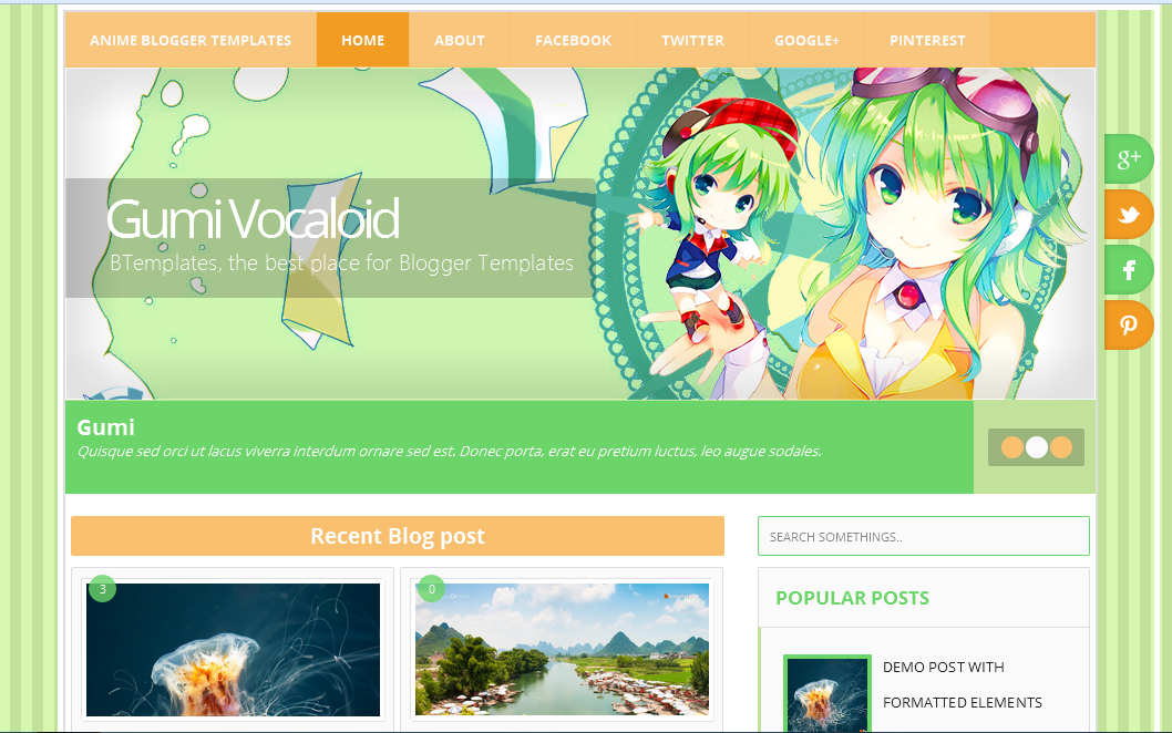 Template Anime For Blogger Gumi Vocaloid