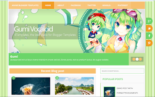 Download Template Anime for Blogger Gumi Vocaloid