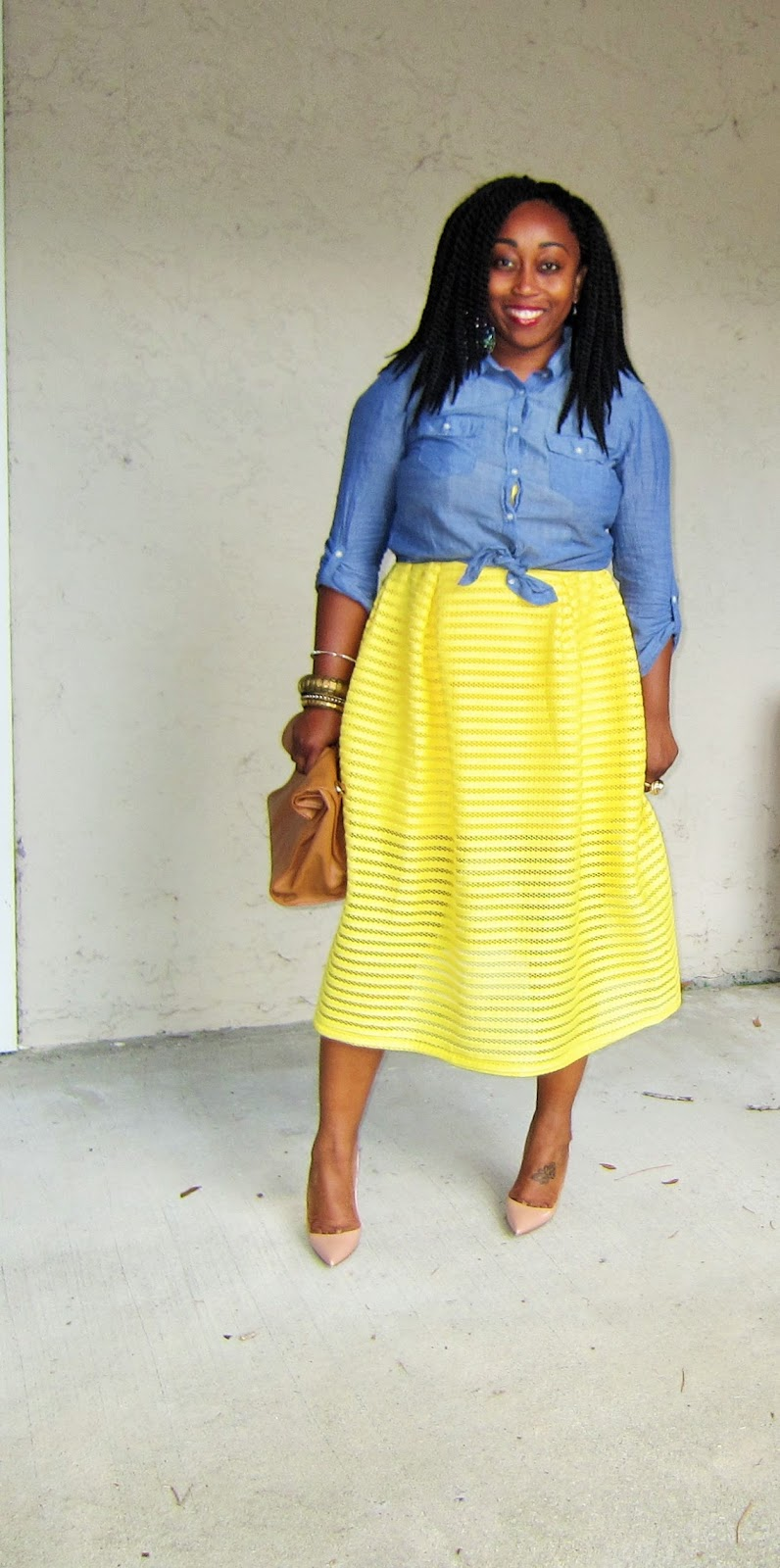 incredible denim and yellow outfit dress
