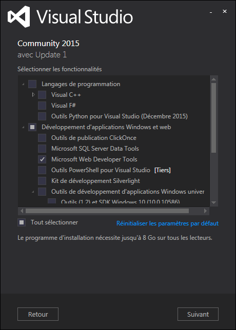 Installation de Visual Studio Communiy 2015 - Update 1 - Volet 1