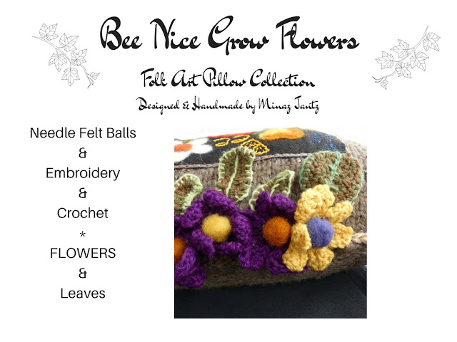 Needle felt & crochet flowers by Minaz Jantz