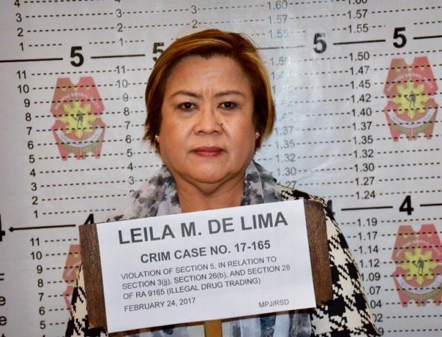 Sen. Leila de Lima's mugshot in violation of RA 9165 (Illegal drug trading).