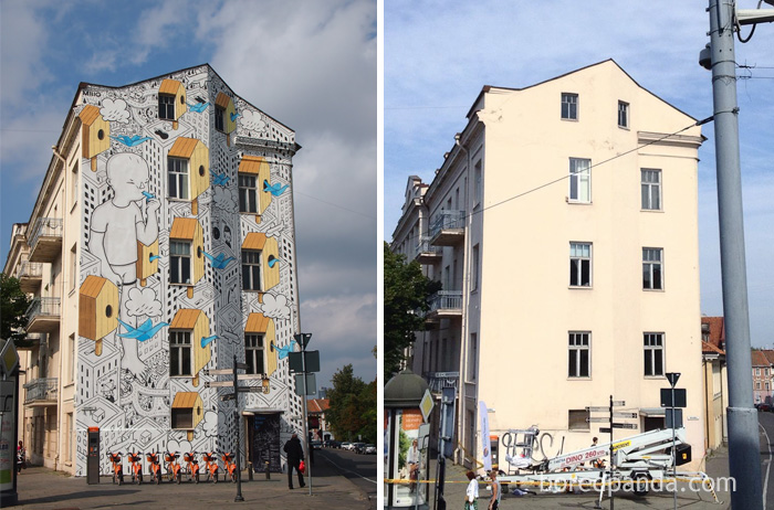 10+ Incredible Before & After Street Art Transformations That'll Make You Say Wow - Mural In Vilnius, Lithuania