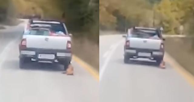 Σοκαριστικό: Οδηγός αγροτικού σέρνει σκύλο που τον έχει δέσει στο αυτοκίνητο του (βίντεο)