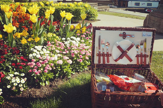 Riverside picnic amidst beautiful flowers in Shakespeare's Stratford-upon-Avon
