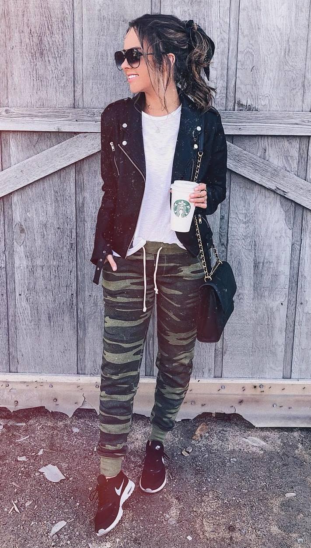 casual style obsession / khaki pants + sneakers + biker jacket + top + bag