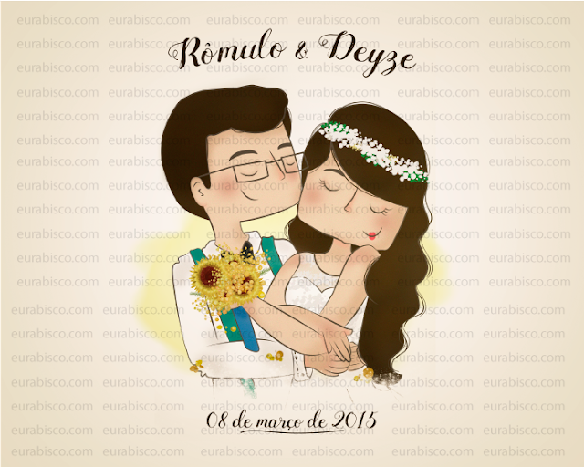 capa ilustrada de álbum de casamento