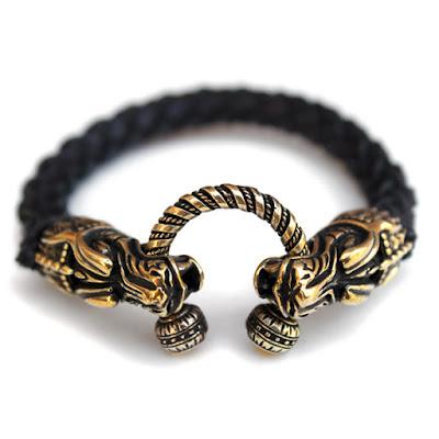 купить Стильный плетеный браслет с головами дракона. купить Мужской кожаный браслет на руку