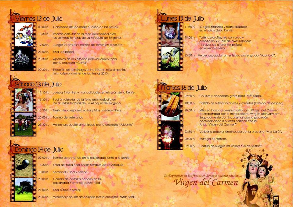 Zurgena Councillors Blog La Alfoquia Fiesta Programme 2013
